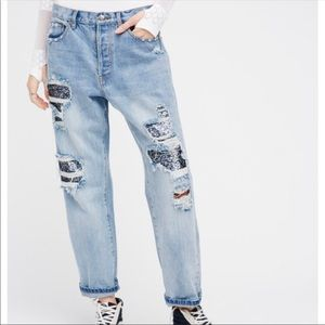 NWT Free People Destroyed Sequin Boyfriend Jeans